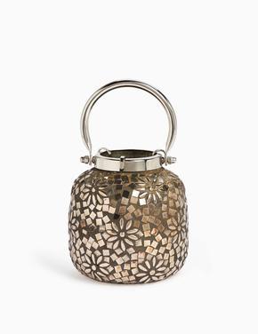 Kahverengi Boncuklu Cam Mozaik Fener