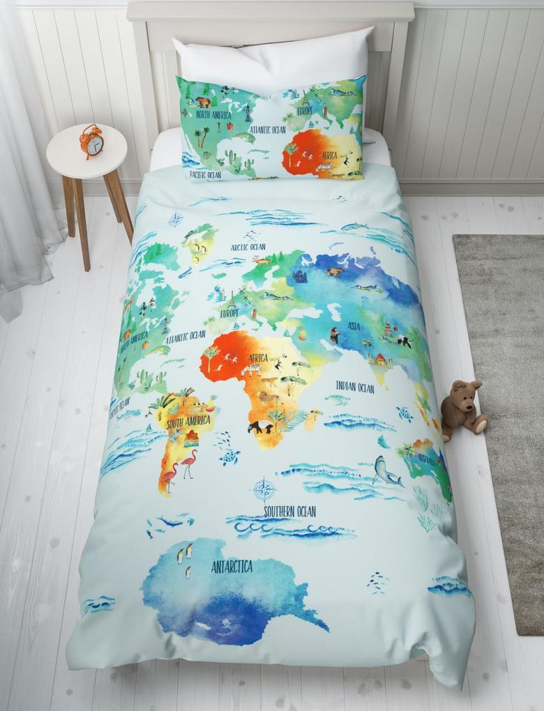 Ev Mavi Dünya Haritası Desenli Çift Taraflı Nevresim Takımı