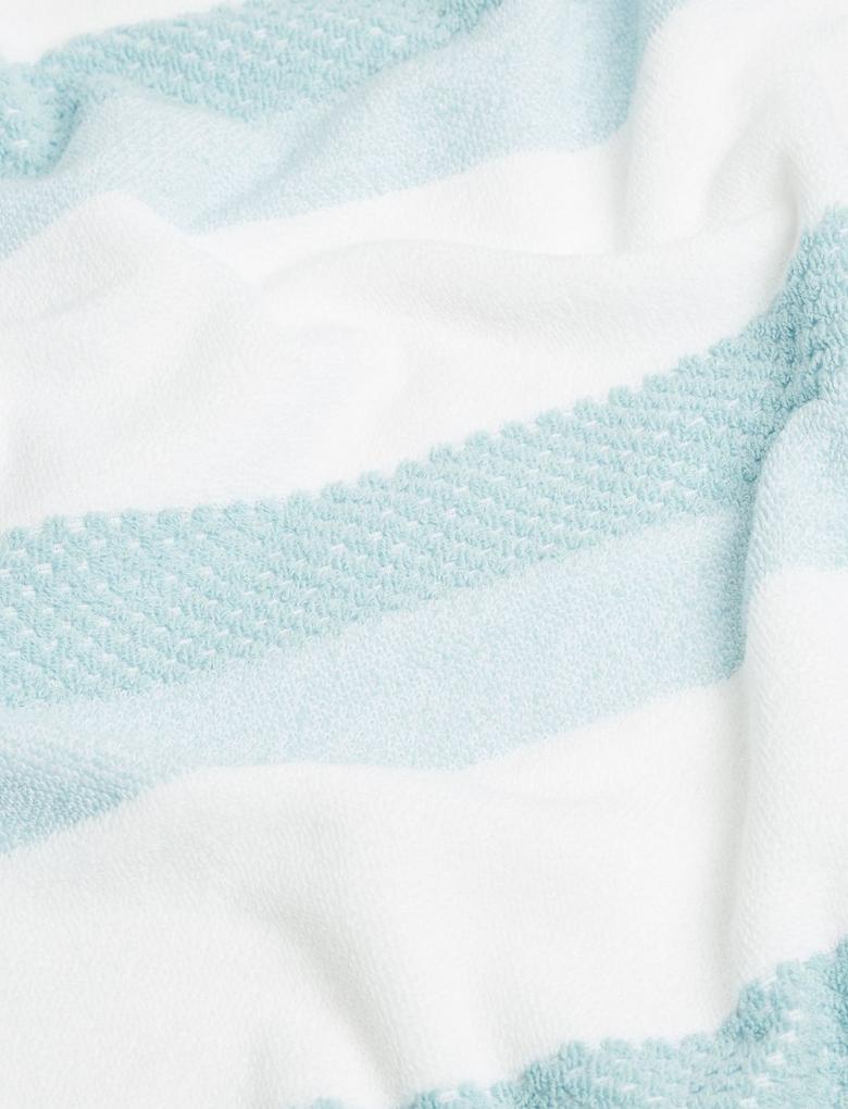 Ev Mavi Çizgili Pamuklu Havlu