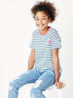 Kız Çocuk Mavi Kısa Kollu Çizgili T-Shirt