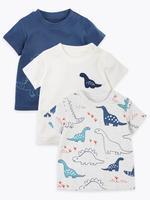 Bebek Multi Renk 3'lü Dinozor Desenli T-Shirt Seti