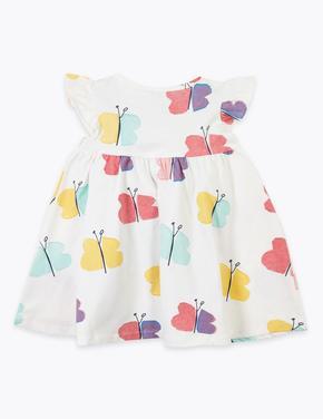 Bebek Beyaz Kelebek Desenli Elbise