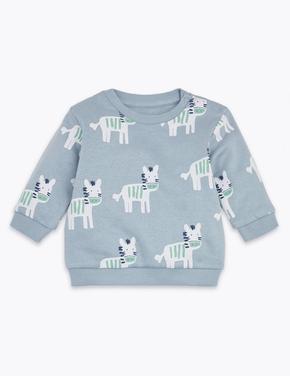 Bebek Mavi Zebra Desenli Sweatshirt
