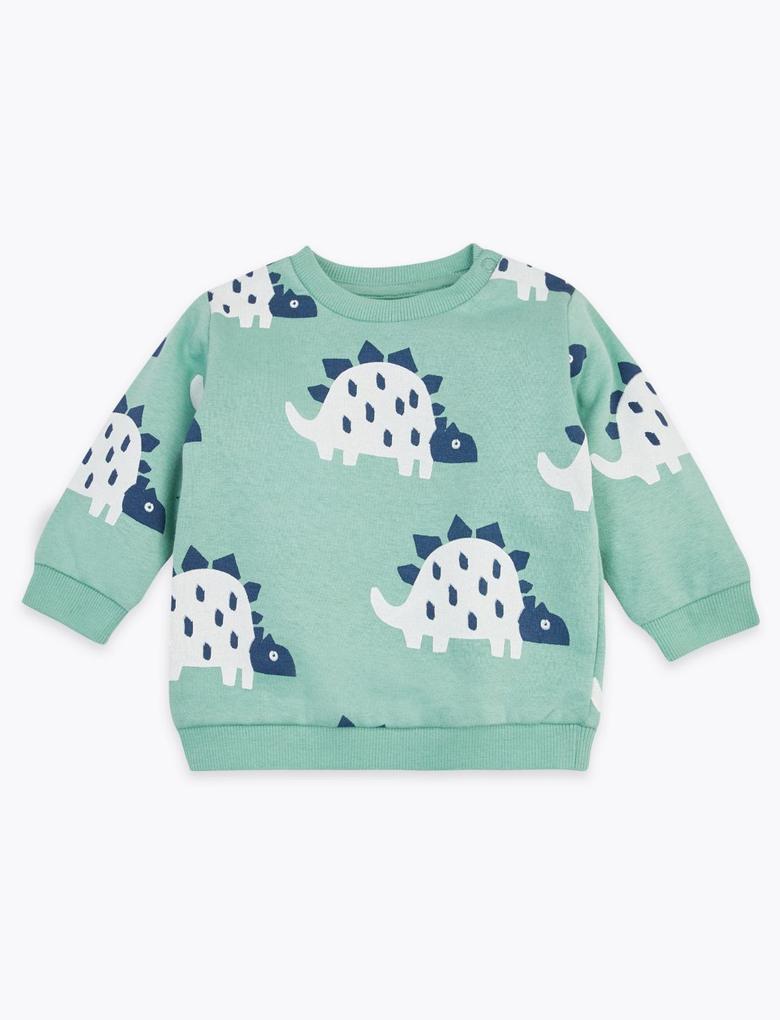 Bebek Yeşil Dinozor Desenli Sweatshirt