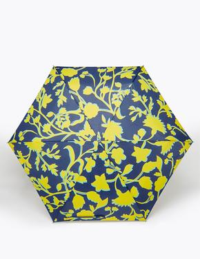 Kadın Lacivert Çiçek Desenli Kompakt Şemsiye (Stormwear™ teknolojisi ile)