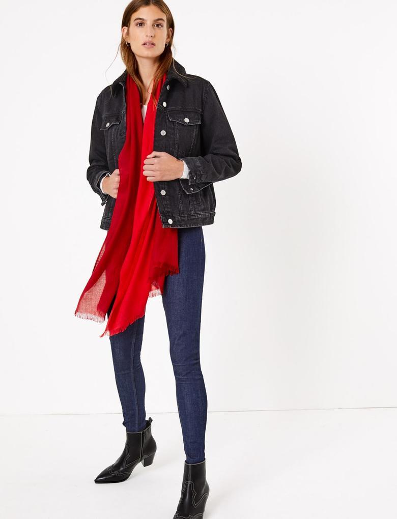 Kadın Kırmızı Renk Bloklu Şal