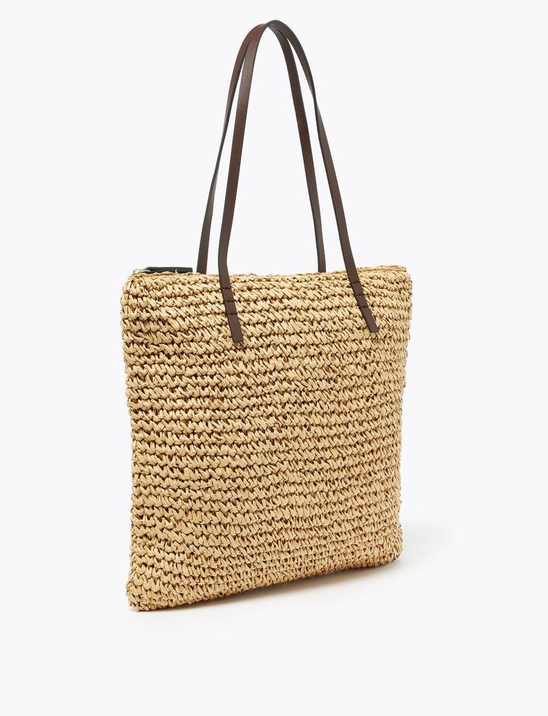 Kadın Krem Hasır Shopper Çanta