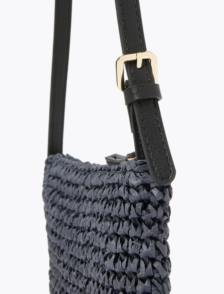 Kadın Lacivert Hasır Çapraz Çanta