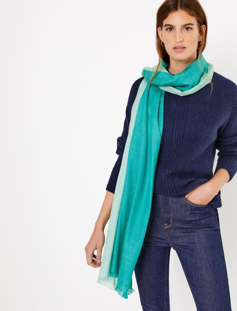 Kadın Yeşil Renk Bloklu Şal