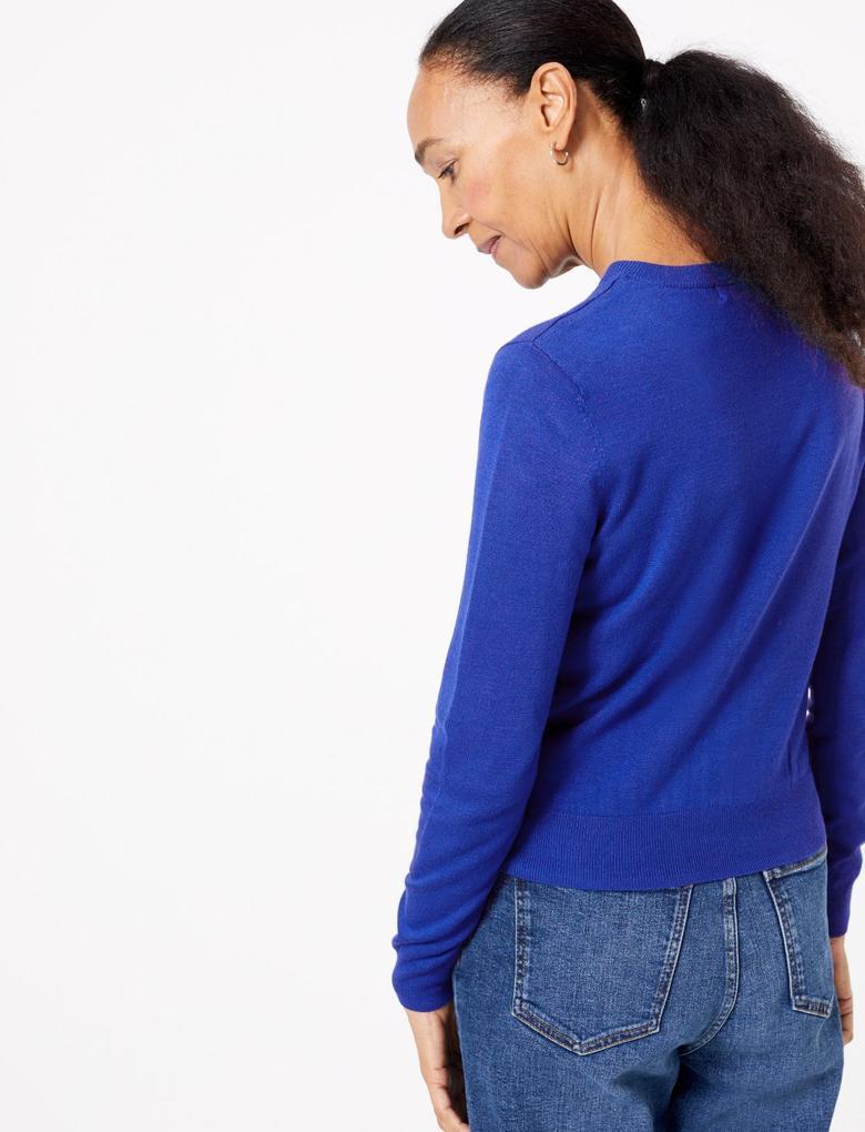 Kadın Mavi Yuvarlak Yaka Hırka