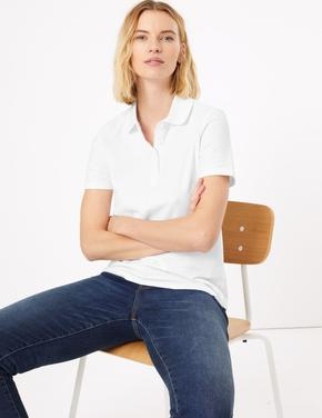 Kadın Beyaz Saf Pamuklu Polo Yaka T-Shirt