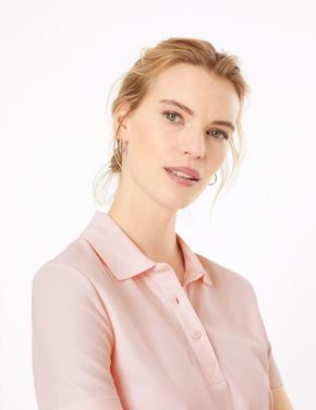 Kadın Pembe Saf Pamuklu Polo Yaka T-Shirt