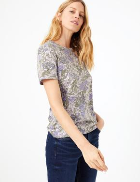 Pembe Çiçek Desenli Kısa Kollu T-Shirt