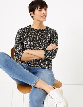 Siyah Çiçek Desenli Uzun Kollu T-Shirt