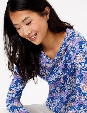 Lacivert Çiçek Desenli Uzun Kollu T-Shirt