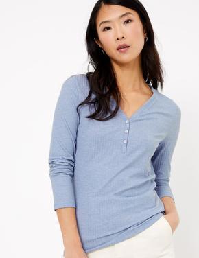 Kadın Mavi Uzun Kollu Dokulu T-Shirt
