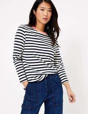 Kadın Lacivert Çizgili Saf Pamuklu T-Shirt