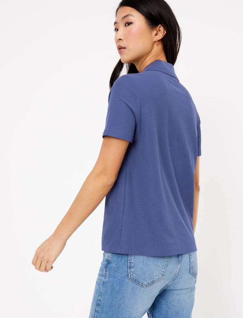 Kadın Lacivert Saf Pamuklu Polo Yaka T-Shirt