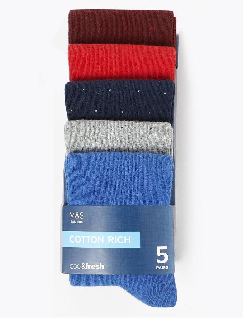 Erkek Kırmızı 5'li Cool & Fresh™ Çorap Seti