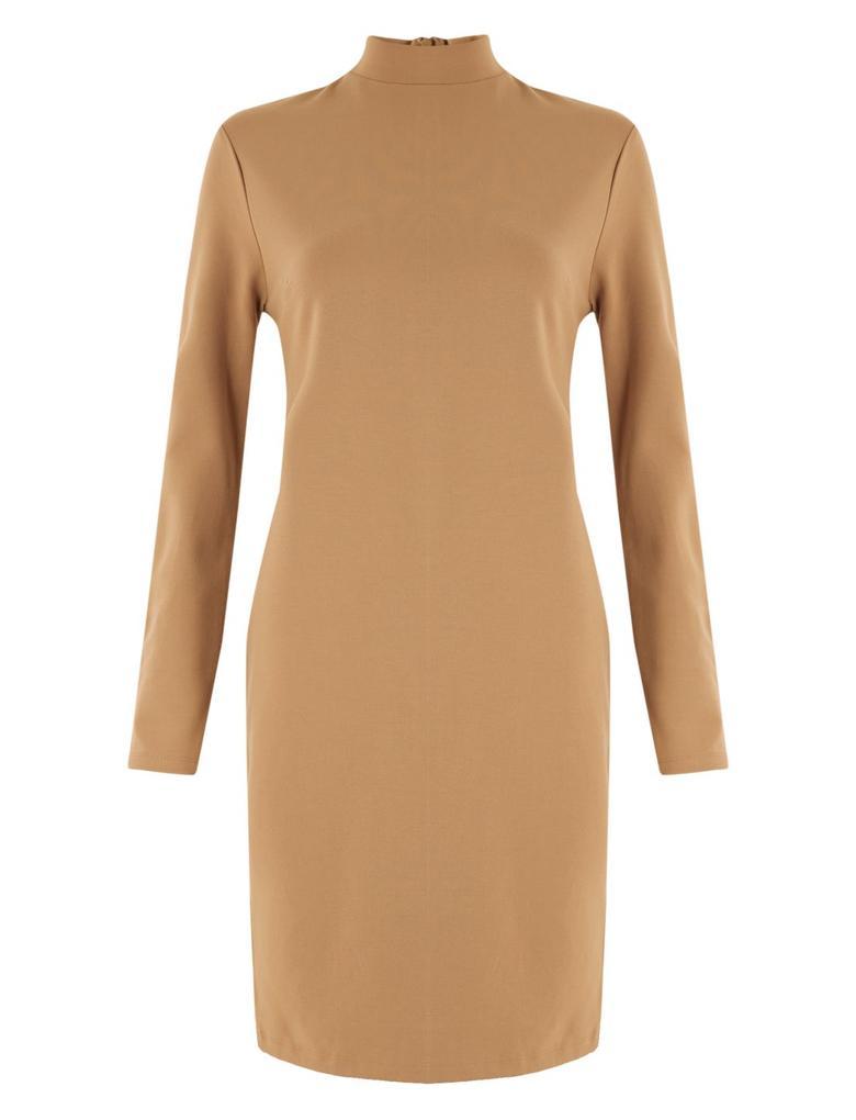 Kadın Kahverengi Düğme Detaylı Shift Elbise