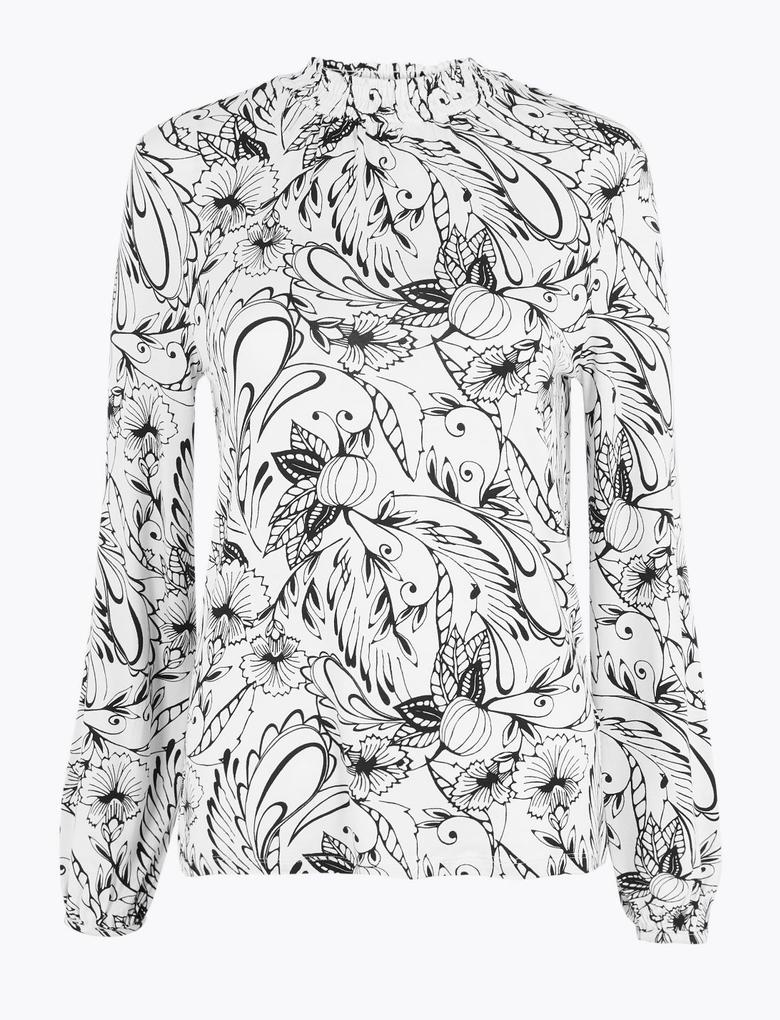 Kadın Krem Desenli Uzun Kollu Bluz