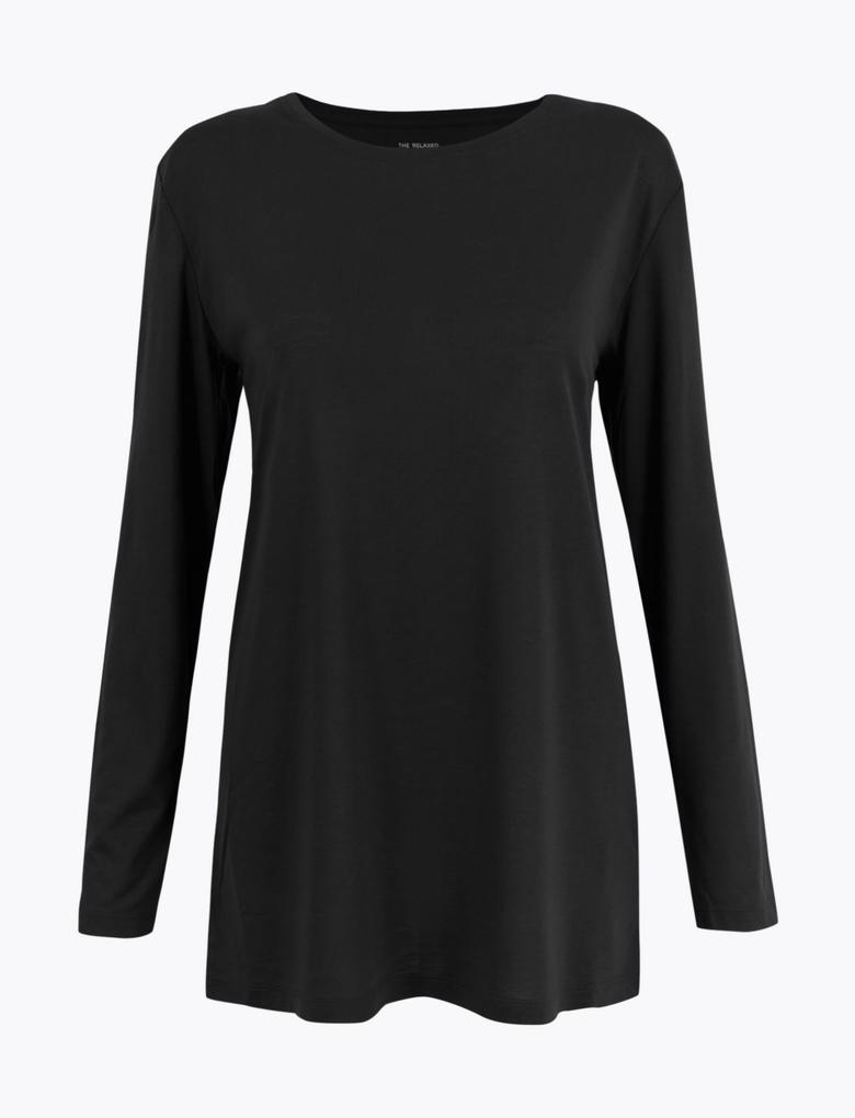 Kadın Siyah Uzun Kollu Relaxed Fit Tunik