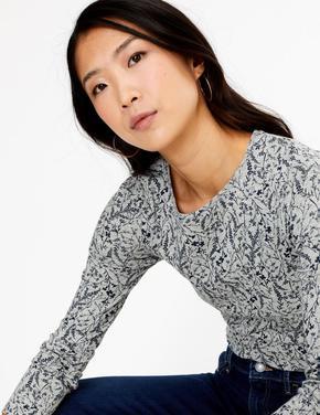 Kadın Gri Saf Pamuklu Uzun Kollu T-Shirt