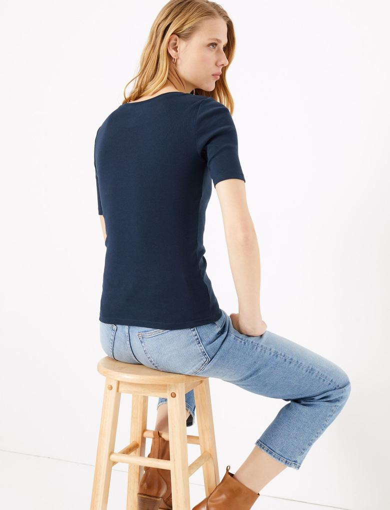 Kadın Lacivert Saf Pamuklu Regular Fit T-Shirt