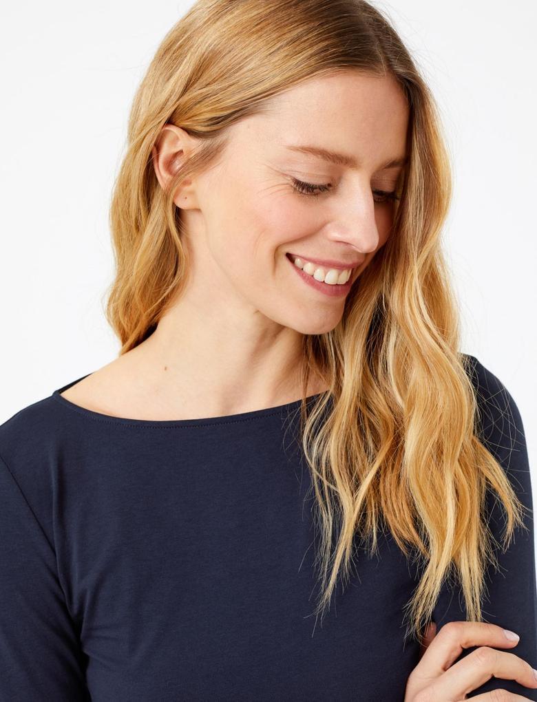 Kadın Lacivert 3/4 Kollu Fitted T-Shirt