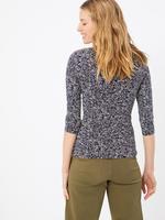 Kadın Lacivert Çiçek Desenli Fitted T-Shirt