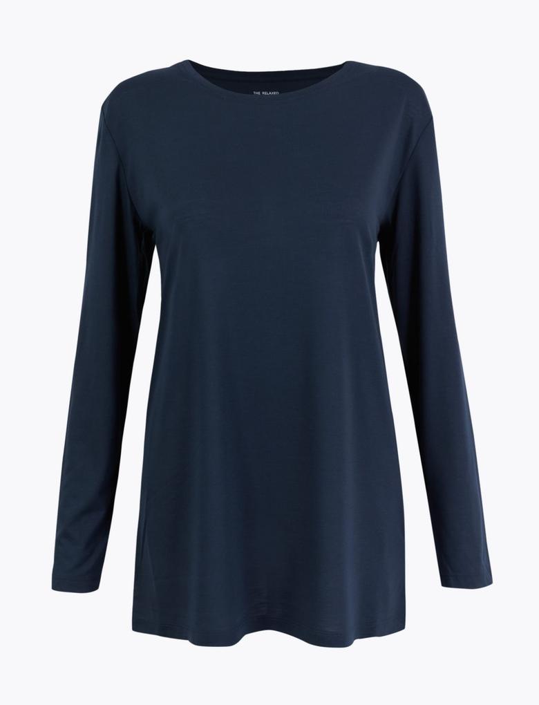 Kadın Lacivert Uzun Kollu Relaxed Fit Tunik