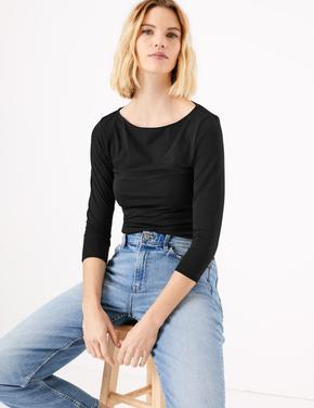 Kadın Siyah 3/4 Kollu Fitted T-Shirt