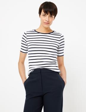 Lacivert Saf Pamuklu Çizgili T-Shirt