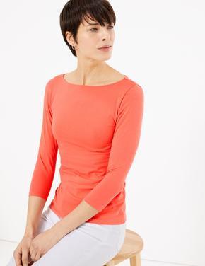 Kadın Turuncu 3/4 Kollu Fitted T-Shirt