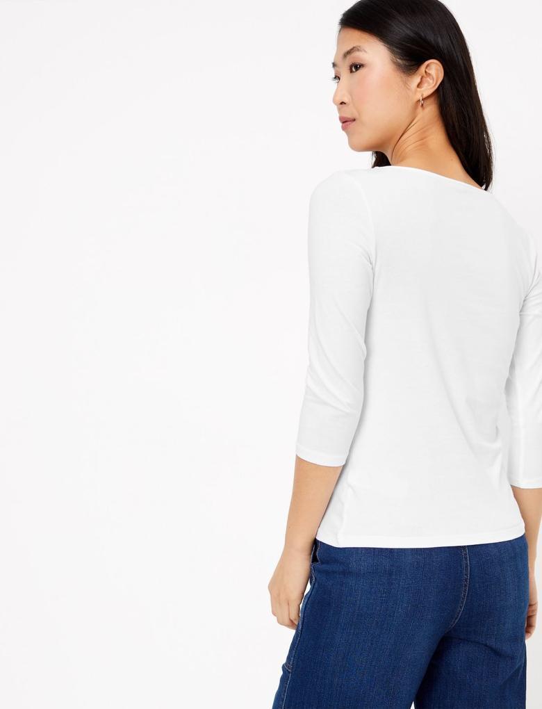 Kadın Beyaz 3/4 Kollu Fitted T-Shirt
