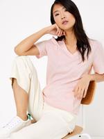 Kadın Pembe Saf Pamuklu Straight Fit T-Shirt