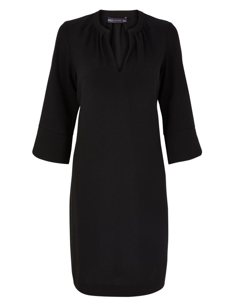 Kadın Siyah Krep Shift Elbise