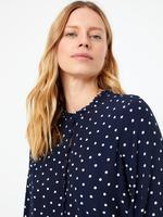 Kadın Lacivert Puantiyeli Waisted Midi Elbise