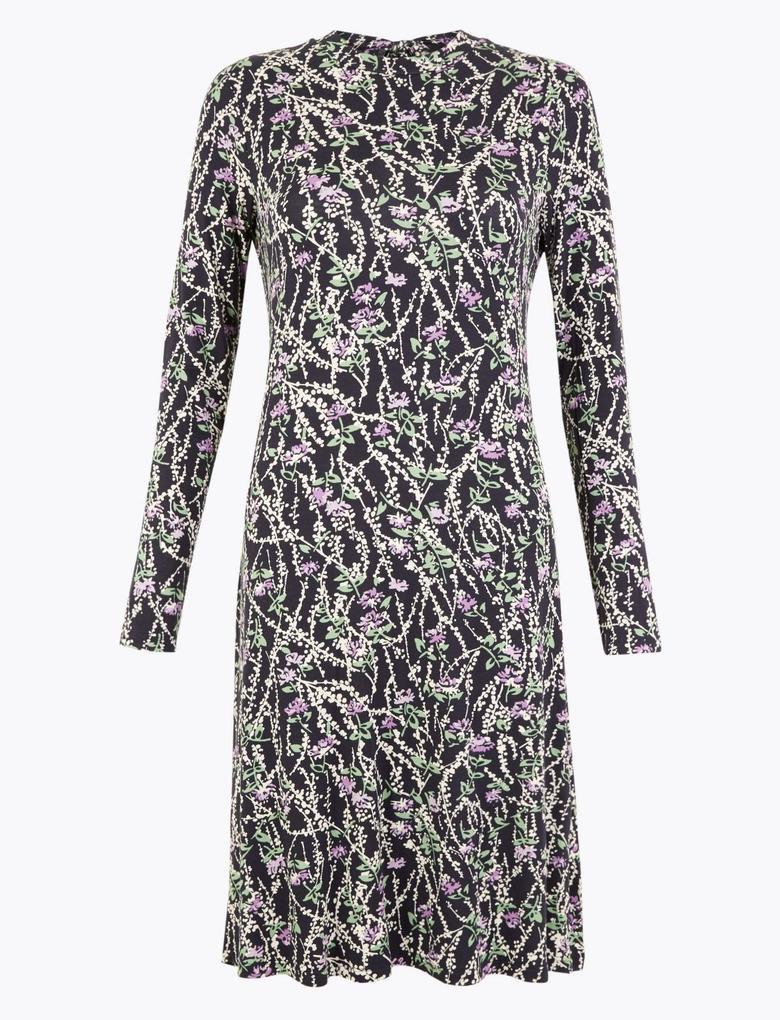 Kadın Lacivert Çiçek Desenli Jarse Elbise