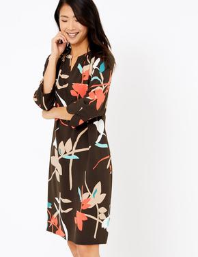 Gri Çiçek Desenli Shift Elbise