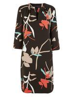 Kadın Gri Çiçek Desenli Shift Elbise