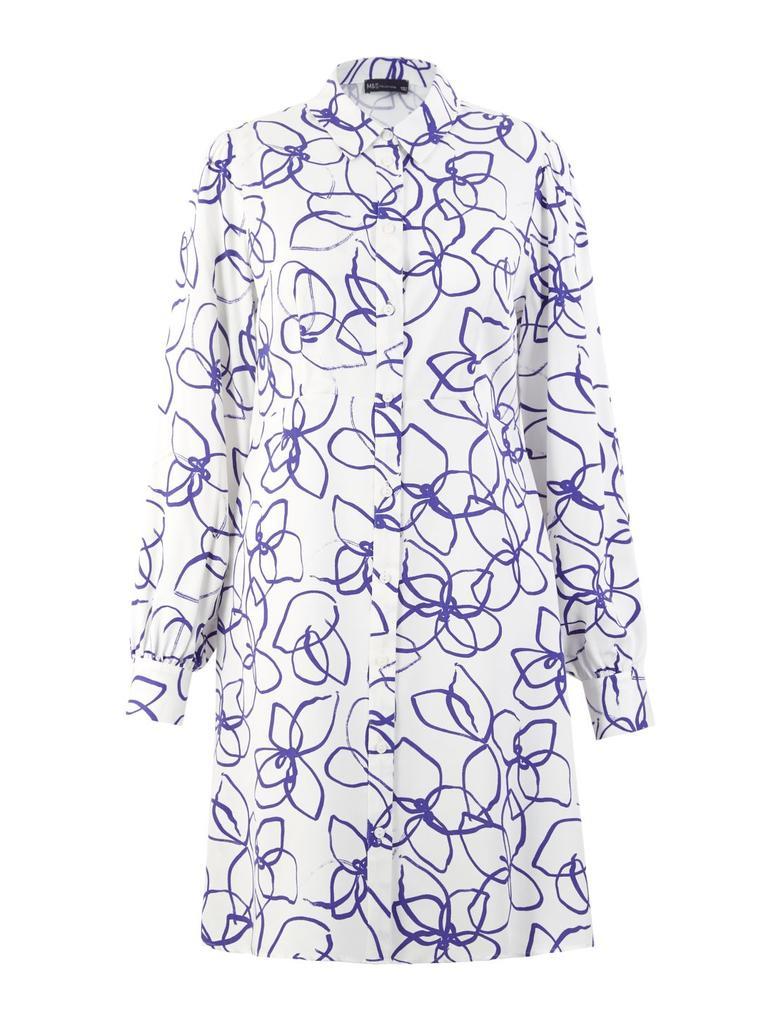 Kadın Krem Desenli Mini Gömlek Elbise