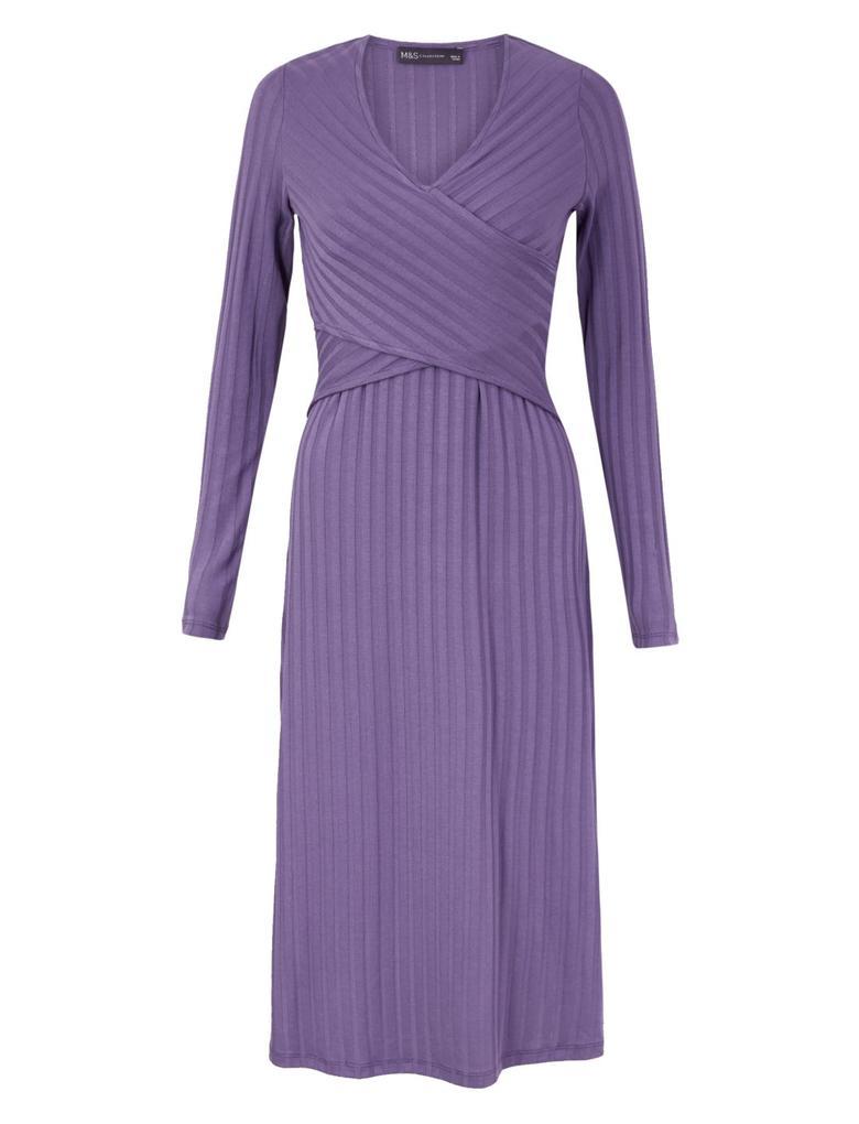 Kadın Mor Fit and Flare Midi Elbise