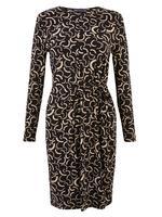 Kadın Siyah Desenli Bodycon Midi Elbise