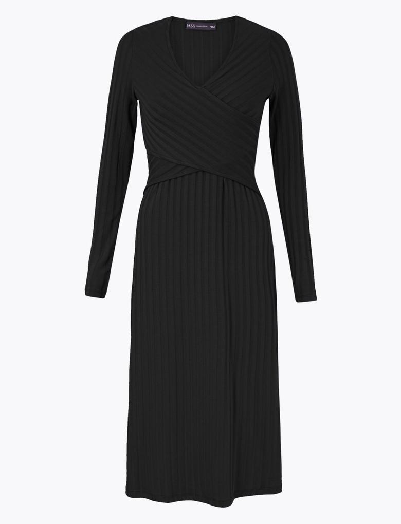Kadın Siyah Fit and Flare Midi Elbise