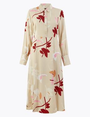 Kadın Renksiz Çiçek Desenli Midi Gömlek Elbise