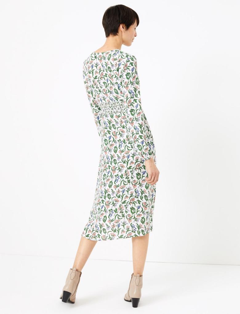 Kadın Krem Çiçek Desenli Fit and Flare Midi Elbise