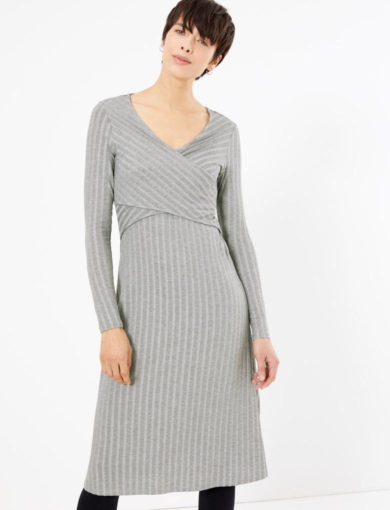 Kadın Gri Fit and Flare Midi Elbise