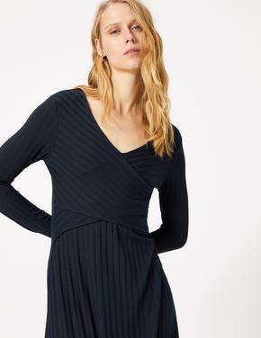 Kadın Lacivert Fit and Flare Midi Elbise