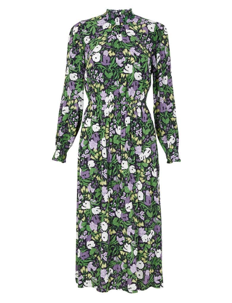 Kadın Lacivert Çiçek Desenli Waisted Midi Elbise